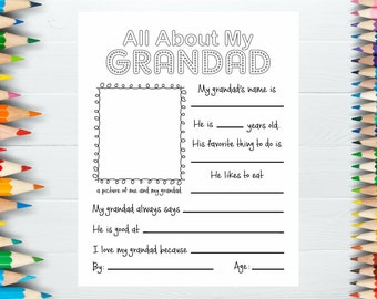 All About My Grandad, Grandfather Gift for Father's Day, Grandfather Interview, Father's Day Card, Grandparent Activity, Fathers Day Gift