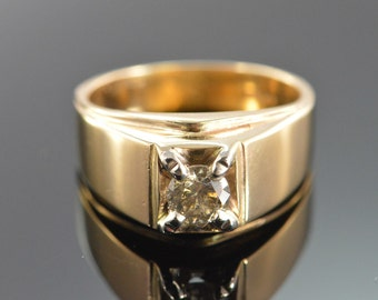 14K 0.75 CT Diamond Solitaire Men's Ring - Size 10 / Yellow Gold - EL9993