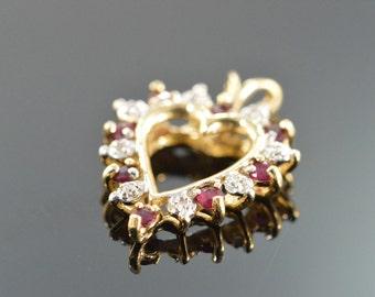 10K 0.17 CTW Ruby Diamond Heart Pendant Yellow Gold - EL9870