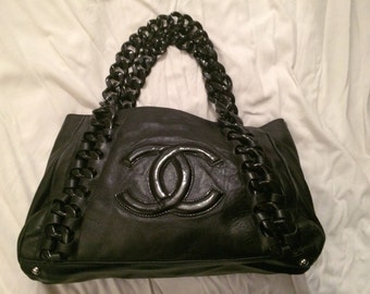 CHANEL limited edition in black leather bag