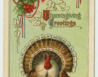 Thanksgiving Greetings P. Sander Turkey Pumpkin Wheat Corn Fruit Gilt c1911 Embossed Postcard