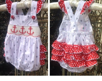 Smocked Anchor Bubble, Smocked Fourth of July Bubble, Smocked Ruffle Bubble, Vintage Anchor Fabric