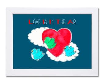 Love is in the Air-Aquarel Illustratie-Birds