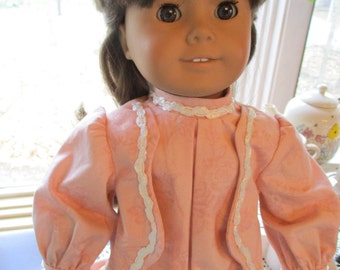 """Edwardian Doll Dress to fit your 18"""" American Girl Doll In Peach with Satin Braidiing"""