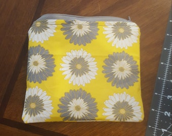 Yellow and Grey flower zipper pouch