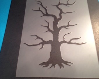Tree stencil template banner flags art craft template  airbrush painting fabric paint decorating DIY plaque sign