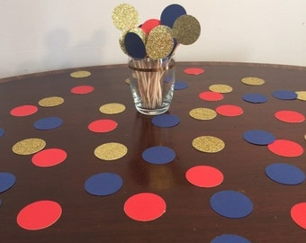 """Navy Blue, Red, Gold 1"""" Circle Confetti & Cupcake Toppers, Wedding, Nautical, Graduation, Birthday, Shower, Party Decor, Patriotic Decor"""
