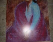 R.C Gorman print woman sitting Navajo Gallery August 1986 Taos New Mexico Southwestern Native American Indian