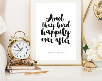 A4 Personalised 'and they lived happy ever after' wedding/ couple print