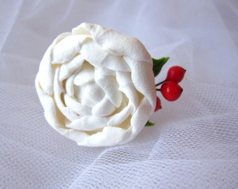White rose ring, white peony ring, red berry, white floral ring, polymer clay flower, rose ring, flower ring, peony jewelry, flower jewelry