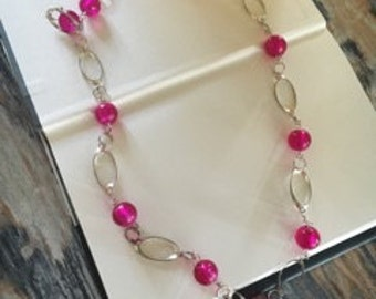 Homemade Silver/Pink Bead Necklace