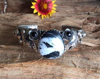White Buffalo Turquoise Bracelet with two Black onyx wildflower/Sterling Silver Cuff Bracelet/ Southwestern Jewelry/ BohoChic Bracelet