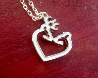 Buck and Doe Heart Necklace. Browning love necklace