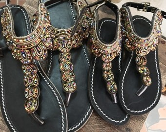 Mother and Daughter sandals handmade leather and czech beads shoes flip flops