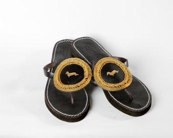 Dachshund handmade leather and gold beads flip flops dog lover sandals