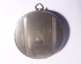 Antique silver compact mirrors R BLACKINGTON & CO novelty fob powder compact monogram initials M V W silver wedding anniversary 25th gifts