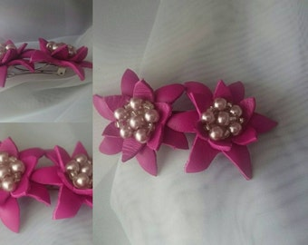 Leather Flowers Hair Clip