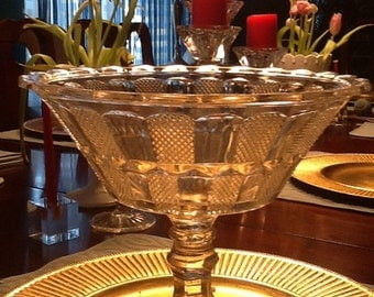 Clear glass compote with nice design
