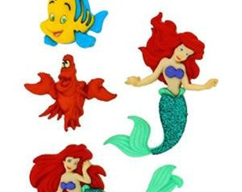 SET of 4 Shank Adorable Ariel Sewing Buttons