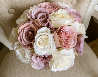 Vintage ivory, cream, mauve and dusky pink silk wedding bouquet. Made with artificial roses.