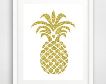 Gold pineapple, wall art prints, tropical fruit, gold glitter, cool posters, nursery wall art, tropical decor, teen wall art, wall pictures