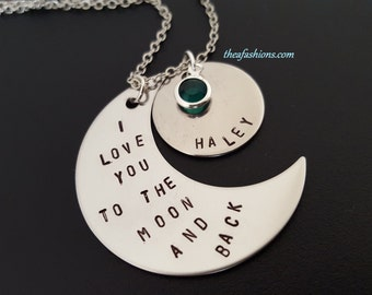 Hand Stamped Jewelry I Love You To The Moon And Back Personalized Necklace - Hand Stamped - Stainless Steel