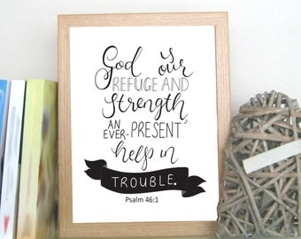 Psalm 46:1, Bible Verse, Printable Art - INSTANT DOWNLOAD