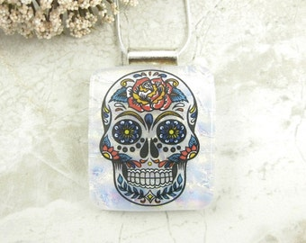 Large Decorative Skull Pendant - Dawn of the Dead Jewelry - White Fused Dichroic Glass Skull Necklace
