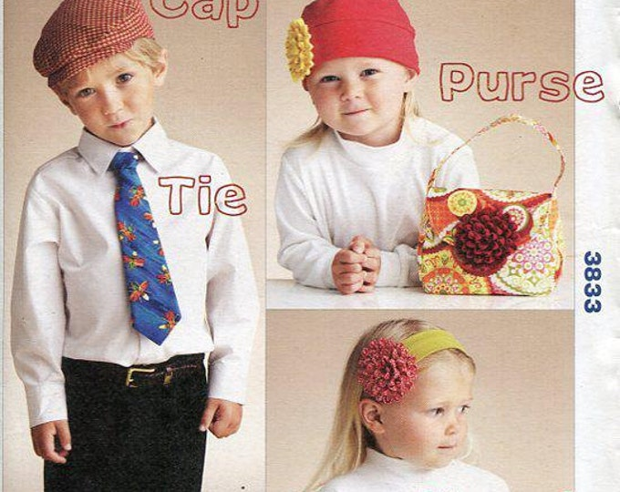 Free Us Ship Kwik Sew 3833 Child's Boy or Girl Hat Purse Neck Tie Headband Uncut Sewing Pattern ff