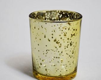 Mercury Glass Votive Tea Light Candle Holder - Gold (2.5 Inches) (6 PACK) - TLMC-GD6