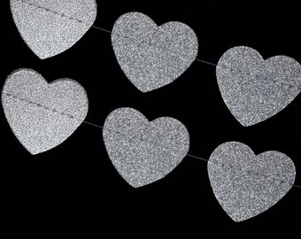 Glitter Heart Shaped Paper Garland Banner (10FT) Silver 2PGHRT-GDG