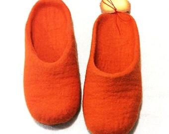 Orange Felted wool slippers