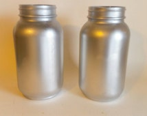 Metallic Silver Quart Mason Jars-(set of 2),Silver Jars,Metallic Mason Jars,Wedding Decor