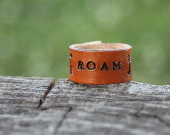 Ring, Leather Roam and Arrow Ring, Southwestern, Western, Gypsy, Boho Handmade Leather Ring