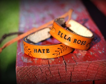 Child's Custom Personalized Leather Bracelet, Customized Handmade Leather Jewelry for Kids, Boy's and Girls Custom Adjustable Leather Cuffs
