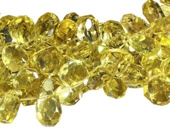15 IN Strand 16x18 mm Heated Lemon Quartz Nugget Shaped Top Drilled Faceted Gemstone Beads (LMQTNF1618)