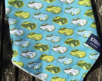 Toddler ajustable bandana with Porsche 356 print, and super soft minky back.