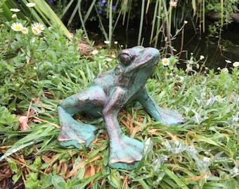 Garden green cast iron frog.