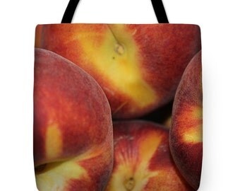 Peaches Shopping Tote Bag, Grocery Tote Bag, Farmers Market Tote Bag