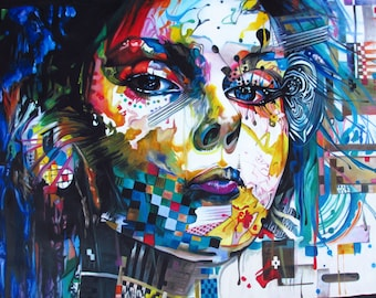 Urban Princess Street Art Graffiti A0 LARGE CANVAS  print painting