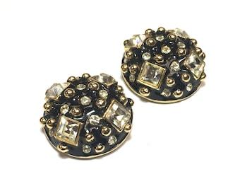 Black Enamel Gold Rhinestone Earrings 80s