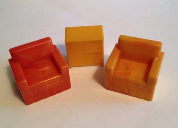 Marx Styled Vintage Hard Plastic Dollhouse Furniture