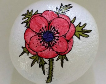 Hand Painted Anemone Beach Stone