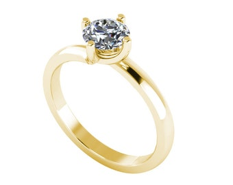Solitaire Diamond Ring .50ct  Round Brilliant Cut Certified Natural Diamond 18ct Gold FW105