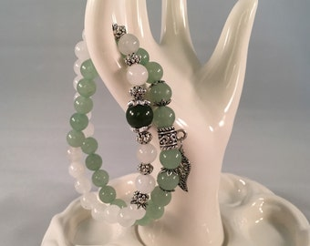 White quartz and green aveturine two loops bracelet with one green garnet bead