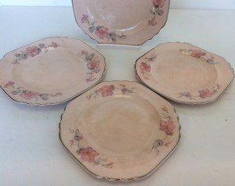 Antique Limoges plates Glo Peche made in Sebring, Ohio. Pink floral dessert plates by Limoges. Pink plates with pink roses by Limoges.