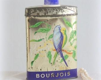 Rare Vintage French Bourjois Talcum Powder Tin 'Ramage', Parakeet Decor