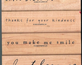 "Stampin' Up! SIMPLE SAYINGS II Mounted Stamp Set of 4 Happy Birthday Thank You Just Because Smile rubber stamping card making 4.5"" X 1"""