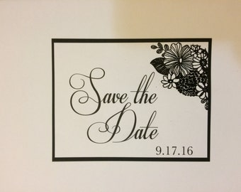 Black and White save the date, Classy save the dates, Flowers save the date