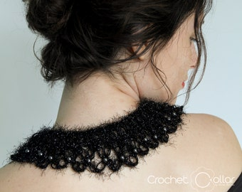 Black Fluffy Crochet Collar with metallic sparkles and Hematites Stones